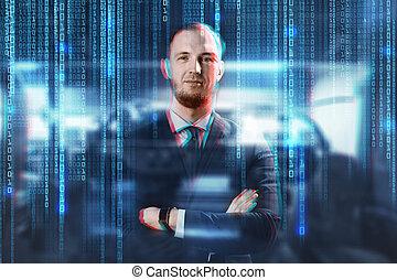 zakenman, op, code, achtergrond, binair