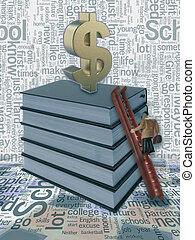 zakenman, op, een, ladder, het regelen, de, groei, van, een, geld, als, een dollar, meldingsbord, op, taste, boekjes , concept