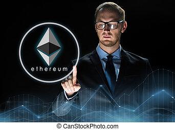 zakenman, op, ethereum, black , hologram