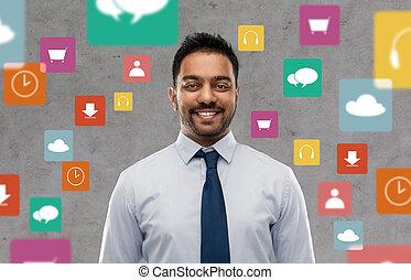 zakenman, op, indiër, app, iconen