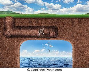 zakenman, op kamers, een, tunnel