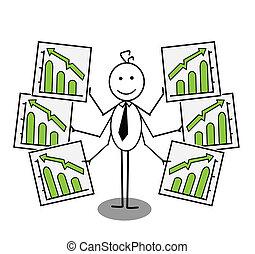 zakenman, op, tabel