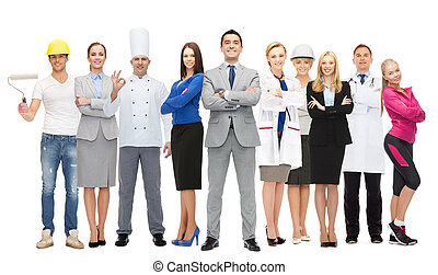 zakenman, op, vrolijke , werkmannen , professioneel