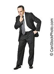 zakenman, op wit, achtergrond
