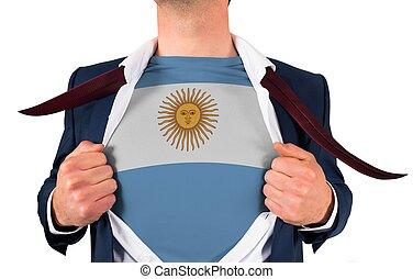 zakenman, opening, hemd, om te, onthullen, argentinië vlag