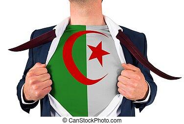 zakenman, opening, hemd, om te, onthullen, de vlag van algerije