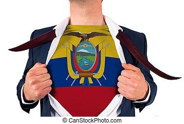 zakenman, opening, hemd, om te, onthullen, ecuador vlag