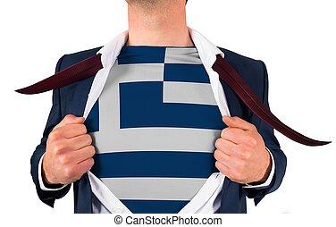 zakenman, opening, hemd, om te, onthullen, griekenland vlag