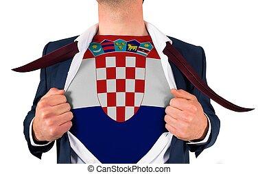 zakenman, opening, hemd, om te, onthullen, kroatië vlag