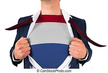 zakenman, opening, hemd, om te, onthullen, nederland vlag