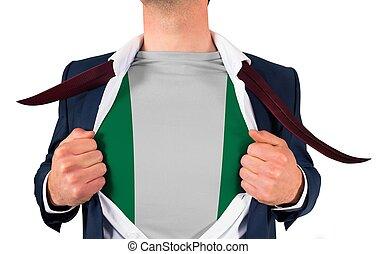 zakenman, opening, hemd, om te, onthullen, nigeria vlag
