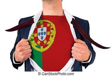 zakenman, opening, hemd, om te, onthullen, portugal vlag