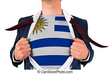 zakenman, opening, hemd, om te, onthullen, uruguay vlag