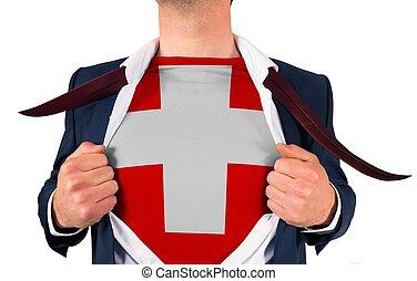 zakenman, opening, hemd, om te, onthullen, zwitserse dundoek