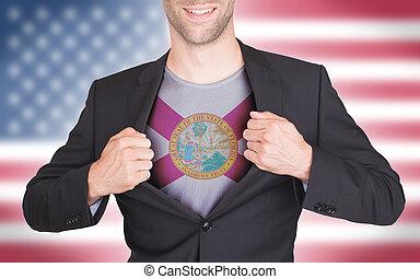 zakenman, opening, kostuum, om te, onthullen, hemd, met, staatsvlag