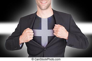 zakenman, opening, kostuum, om te, onthullen, hemd, met, vlag