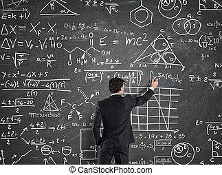 zakenman, oplossen, problemen, met, wiskunde, berekeningen