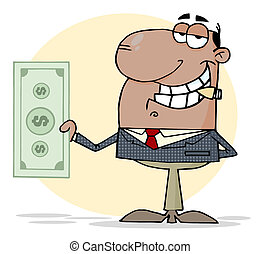 zakenman, optredens, dollar, groot