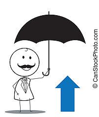 zakenman, paraplu, op