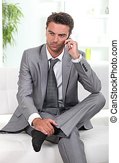 zakenman, peinzend, relaxen