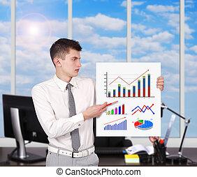 zakenman, plakkaat, diagrammen, vasthouden