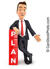 zakenman, plan, 3d
