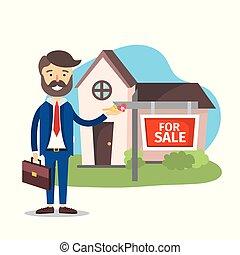 zakenman, plant, eigendom, verkoop, woning