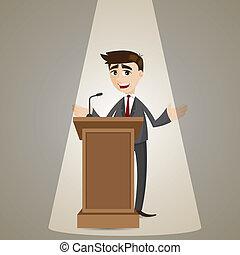 zakenman, podium, spotprent, klesten