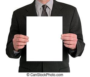 zakenman, presentatie, (blank)