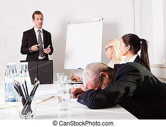 zakenman, presentatie, slapende