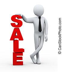zakenman, presentatie, verkoop, woord, 3d