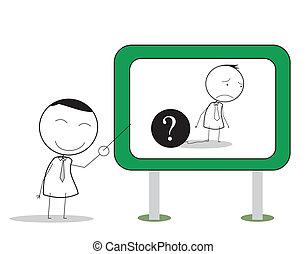 zakenman, probleem, presentatie