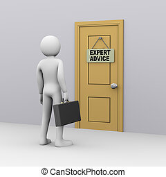 zakenman, raad, deur, deskundig, 3d