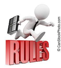 zakenman, regels, mensen., 3d, verbreking, witte