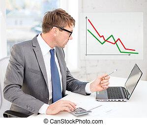 zakenman, rekenmachine, computer, papieren