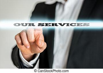zakenman, richtend aan, ons, diensten, meldingsbord
