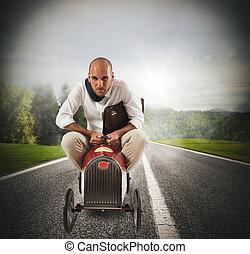 zakenman, rijden snell, auto