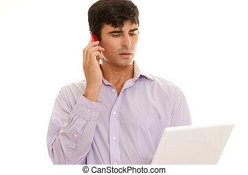 zakenman, roepen, telefoon