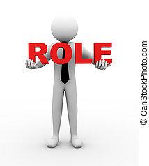zakenman, rol, vasthouden, illustratie, 3d