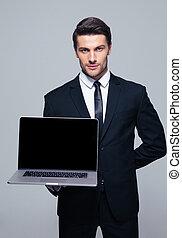 zakenman, scherm, draagbare computer, het tonen, leeg