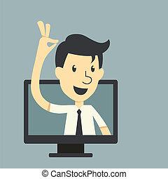 zakenman, scherm, monitor