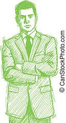 zakenman, schets, man, kostuum