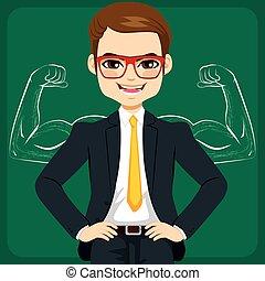 zakenman, schets, sterke, spierballen