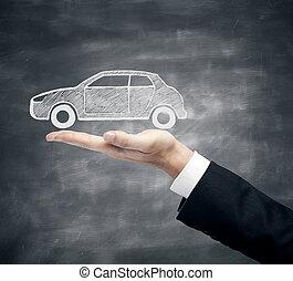 zakenman, schets, vasthouden, auto