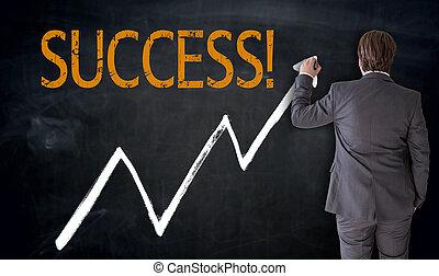 zakenman, schrijft, succes, op, bord, concept