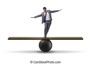 zakenman, seesaw, concept, het in evenwicht brengen, onzekerheid