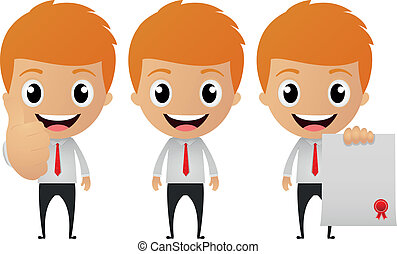 zakenman, set, spotprent, gekke