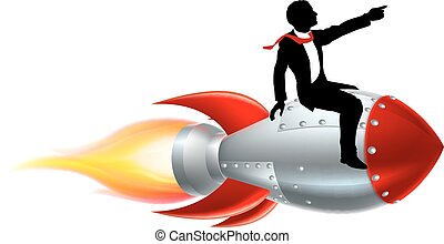 zakenman, silhouette, raket