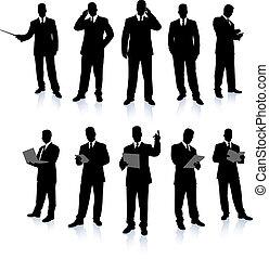 zakenman, silhouette, verzameling