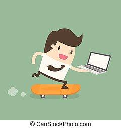 zakenman, skateboard, laptop.